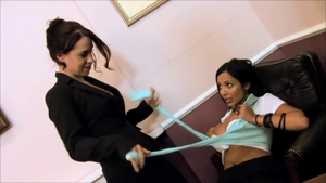 Incredible lesbian in stockings toys strapon fucking in office