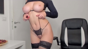 Amateur female orgasm huge boobs in her lingerie solo