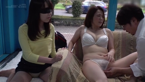 Pretty japanese brunette censored threesome in HD