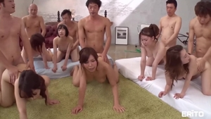 Hairy asian girl group sex at the party