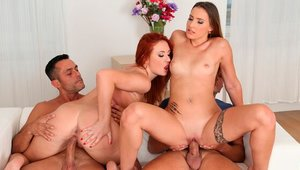 Orgy in the bed accompanied by curvy BBW Eva Berger