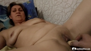 Very fat MILF fun with toys