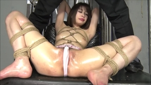 Uncensored hogtied with exotic babe japanese brunette