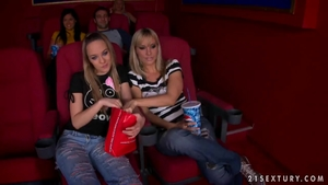 Erotic young blonde babe Blue Angel pussy eating in the cinema