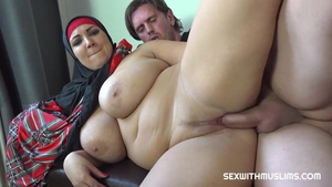 Large boobs arab MILF feels the need for rough nailing in HD