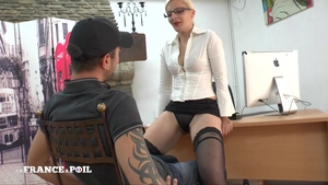 Super hot french teacher strapon in office