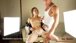 Passionate couple Mia Bandini in socks reality fitness