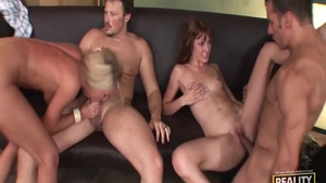 Erotic amateur loves foursome