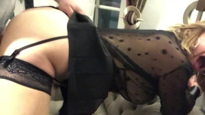 Super sexy and big tits babe in a dress hardcore ass fucking