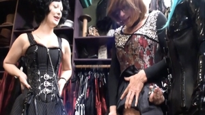 Super hot MILF hardcore femdom in a shop