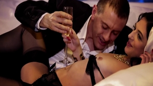 Very hot swinger Claire Castel feels up to threesome