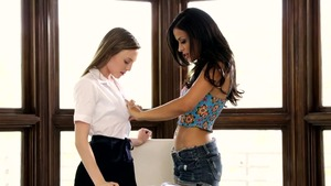 Layla Sin in company with Aubrey Star in office