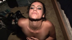 Very small tits shaved girl POV masturbation at the party