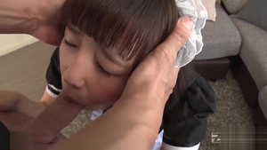 Very cute asian maid reality bends over